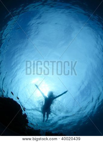 Underwater shoot from a bottom of a young woman snorkeling on a sea surface