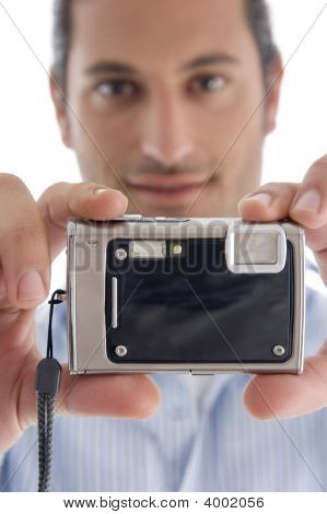 Young Caucasian Man With Camera