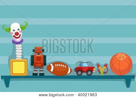 Illustration of a Shelf Holding a Jack-in-the-Box, a Toy Robot, a Football, a Toy Car, a Slingshot, and a Basketball
