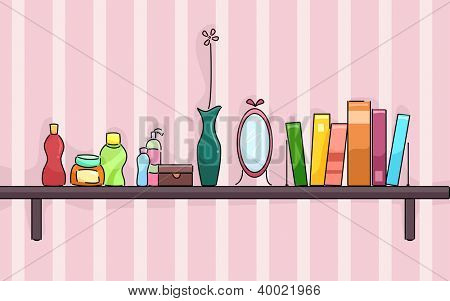 Illustration of a Shelf in a Girl's Room Holding Beauty Products, a Vase, Mirror, and Some Books