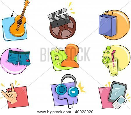 Illustration of Different Hobbies and Interests Icon Design Elements