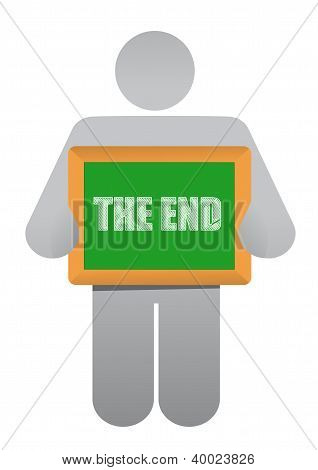 Man Holding A 'the End' Board