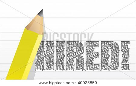 'hired' Written On Paper