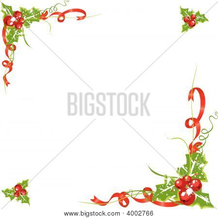 Holly Berry Frame With Red Ribbon