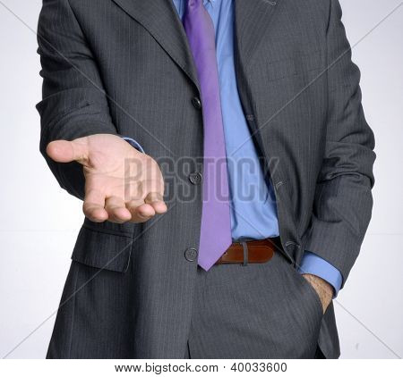 Request attitude businessman hand,shaking hand.