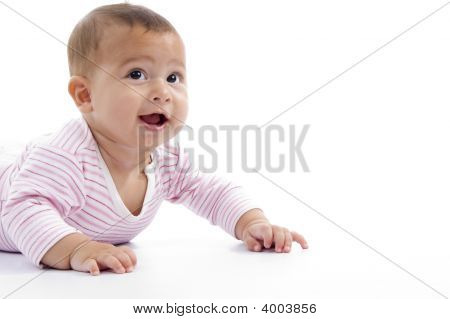 Portrait Of Playing Cute Baby Looking Upward