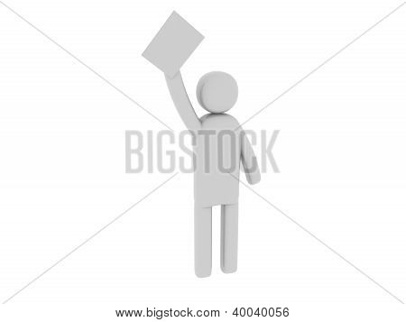 Gray man with papers