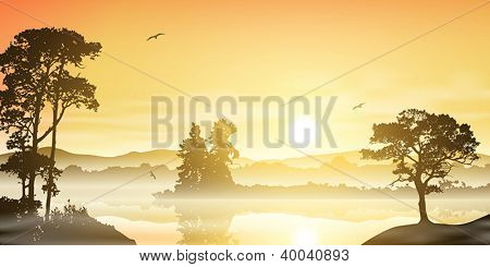 A Misty River Landscape with Sunrise, Sunset and Trees
