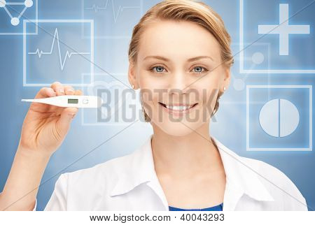 picture of attractive female doctor with thermometer