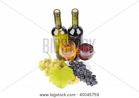 Isolated Wine Bottle With Glass And Green Grapes