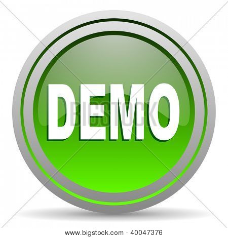 demo green glossy icon on white background