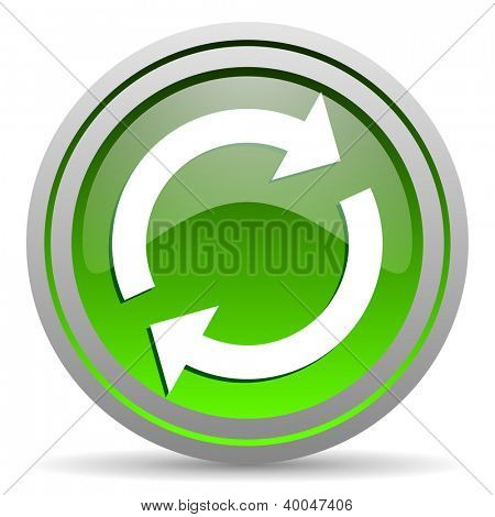 reload green glossy icon on white background