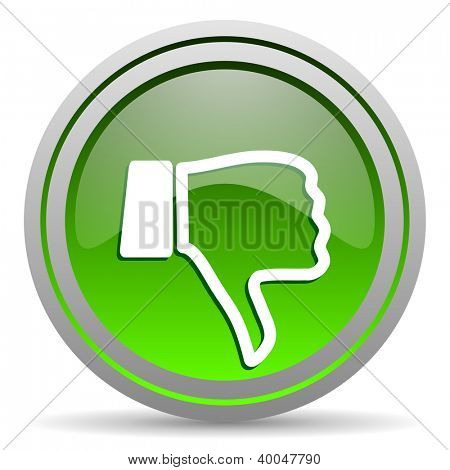 thumb down green glossy icon on white background