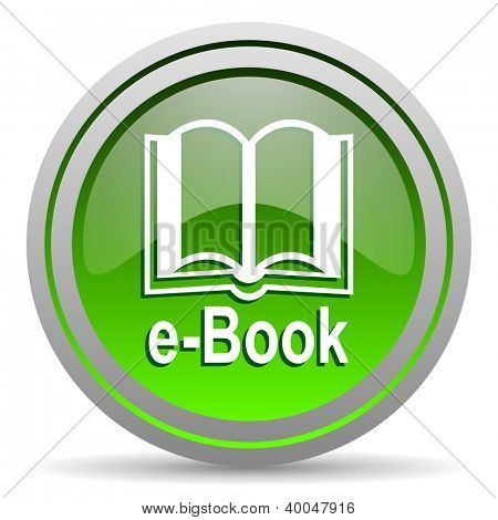 e-book green glossy icon on white background