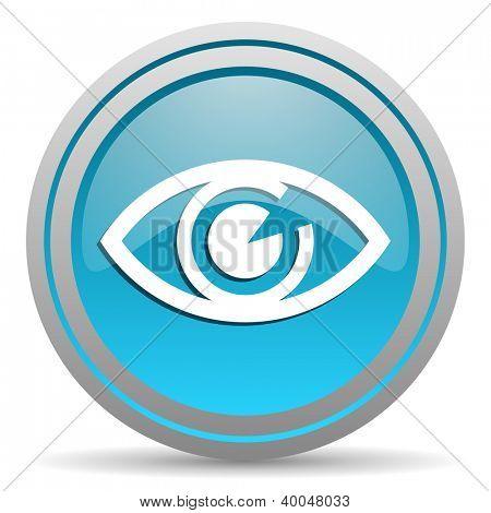 eye blue glossy icon on white background