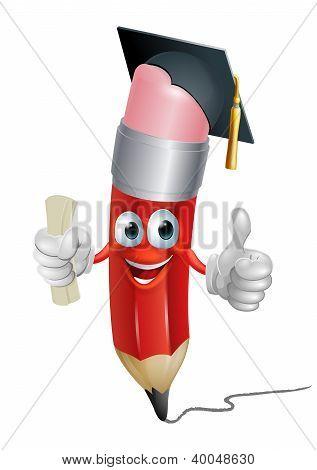 Pencil Mascot Graduating