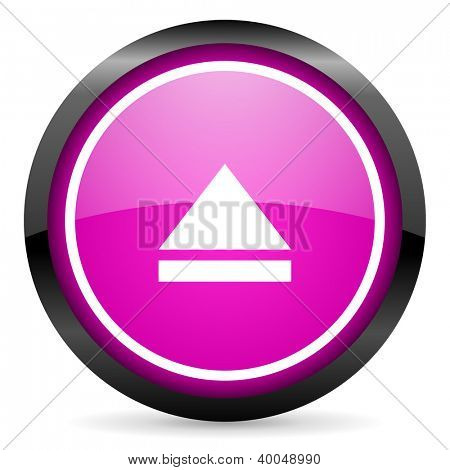 eject violet glossy icon on white background
