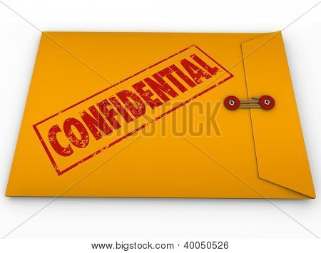 A yellow envelope with a red stamp with the word Confidential containing information that is a secret, private, classified, restricted message