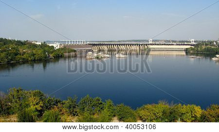 hydropower station in Zaporozhye on the Dnepr