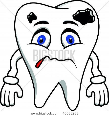sad tooth cartoon