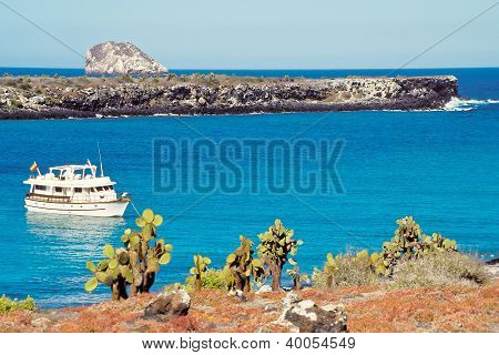 Tourist Boat At Plaza Islands, Galapagos Islands, Ecuador