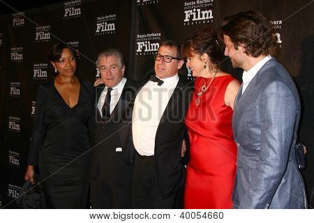 LOS ANGELES - DEC 8:  Grace Hightower, Robert DeNiro, David O. Russell and wife, Bradley Cooper arrive to the SBIFF Kirk Douglas Award  at Bacara Resort & Spa on December 8, 2012 in Santa Barbara, CA
