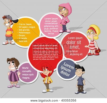 Colorful template for advertising brochure with  a group of six cartoon children