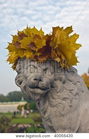 Lion with a garland