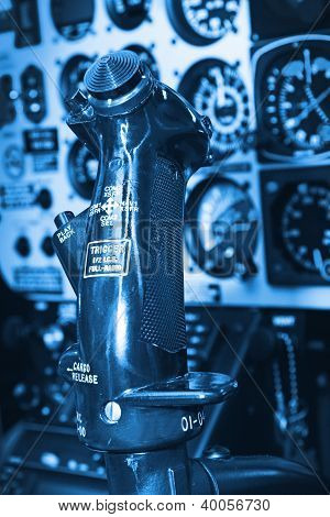 close up of a helicopter cockpit