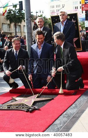 LOS ANGELES - DEC 13:  Chamber officials, Jay Leno, Hugh Jackman, Leron Gubler at the Hollywood Walk of Fame ceremony for Hugh Jackman at Hollywood Boulevard on December 13, 2012 in Los Angeles, CA