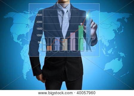 Business men hand pushing write graph