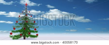 High resolution conceptual green and red Christmas fir tree with a red star ornament or decoration over a blue sky background ideal for Holidays, season,winter and religion designs as modern concept