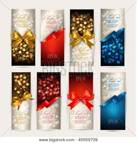 Set of beautiful Gift cards with color gift bows with ribbons Vector illustration.