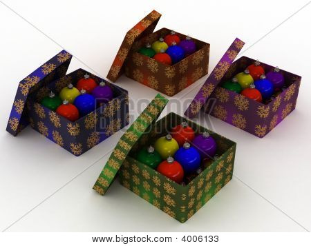 Christmas Balls In Gift Box