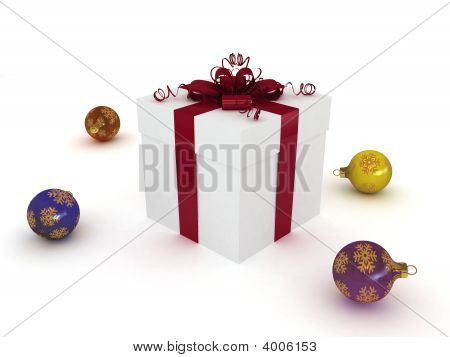 Christmas Balls And Gift Box