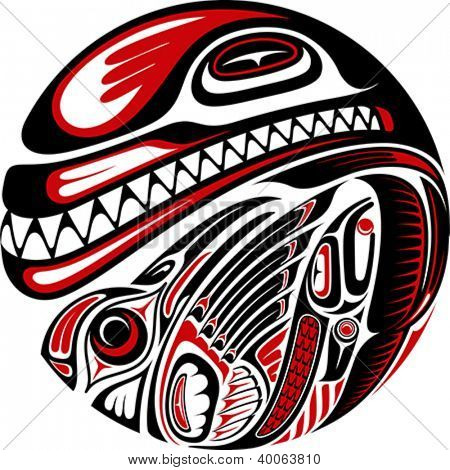 Haida style tattoo design created with animal images. Editable vector illustration.