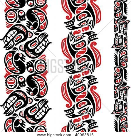 Haida style seamless pattern created with animal images. Editable vector illustration.