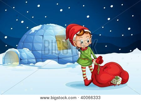 illustration of an igloo and a boy in a nature