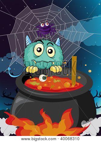 illustration of a monster in a dark night