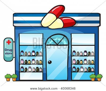 illustration of a drug store on a white background