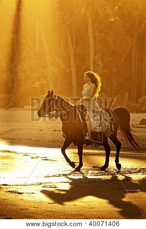 backlit woman on horseback in formal dress riding on beach