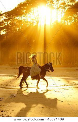 retroiluminada mujer en vestido formal, montar a caballo en la playa