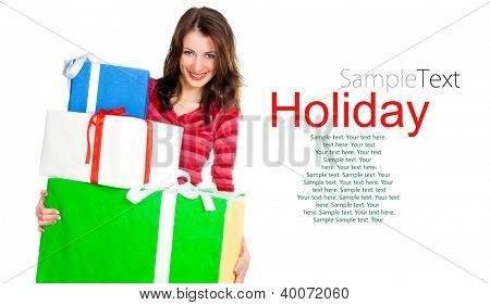 cute young girl with a gifts on a white background with sample text
