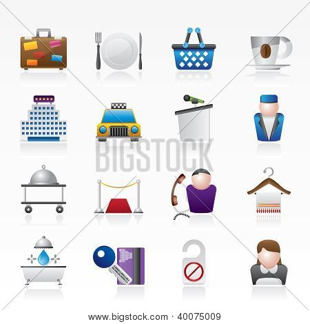 Hotel and motel services icons