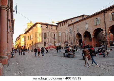 Piazza Giuseppe Verdi In Bologna At Warm Autumn Evening