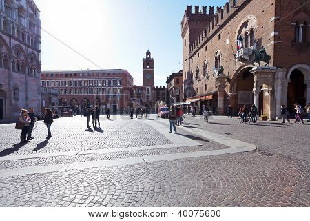 View Of Corso Di Porta Reno And Piazza Trento E Trieste, Town Hall And Cathedral In Ferrara