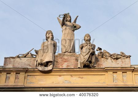Statue On Roof Of L' Arena Del Sole - Theater In Bologna