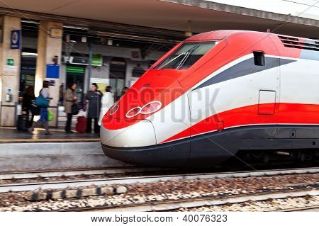 European Intercity Train On Railway Station