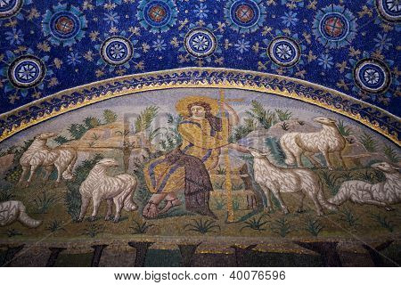 Good Shepherd Seated Among Sheep Mosaic Of The Galla Placidia Mausoleum In Ravenn