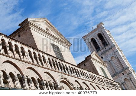 Detail Of Facade Of Ferrara Duomo From Piazza Trento Trieste